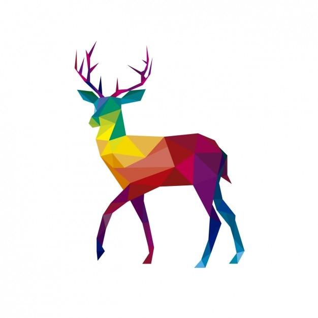 Illustratión poligonal de un ciervo vector gratuito