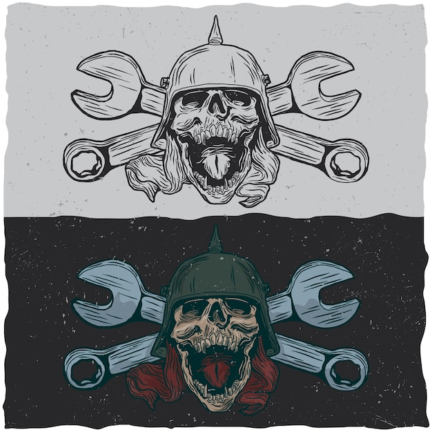 Illustraton de calaveras con casco y llaves vector gratuito