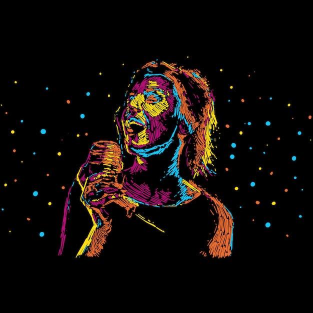 Ilustración abstracta del cantante para el cartel de la música Vector Premium