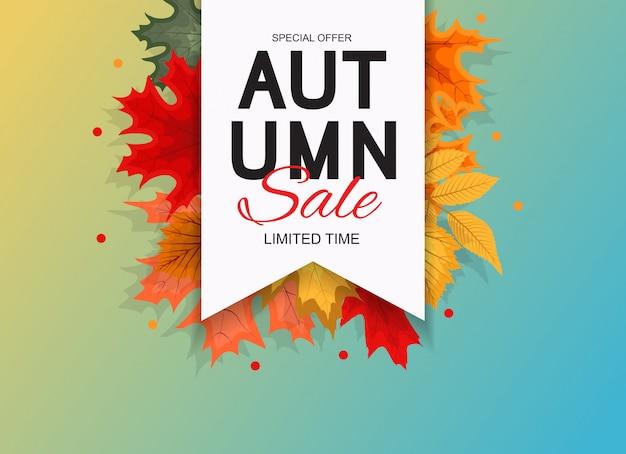 Ilustración abstracta fondo de venta de otoño con la caída de las hojas de otoño. Vector Premium