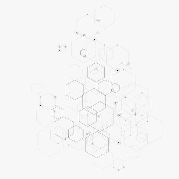 Ilustración abstracta con hexágonos, líneas y puntos en blanco. hexágono infografía. tecnología digital, ciencia o medicina. Vector Premium