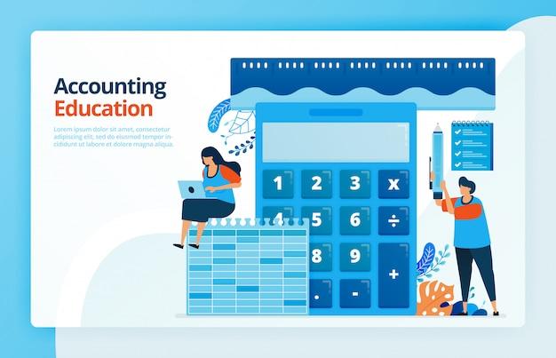 Ilustración de actividades de educación contable y de medición. calculadora para el cálculo. regla para medir las finanzas. aprendizaje de contabilidad. Vector Premium