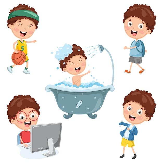Ilustración de las actividades rutinarias diarias de los niños Vector Premium
