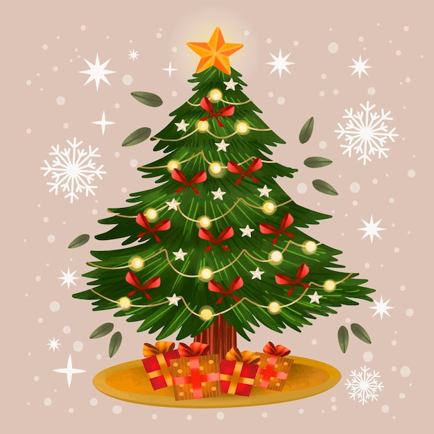 Ilustración acuarela árbol de navidad vector gratuito