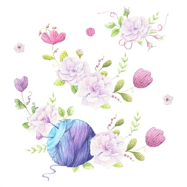 Ilustración de acuarela de una corona de un ramo de rosas silvestres de color rosa pálido y accesorios para tejer costura Vector Premium