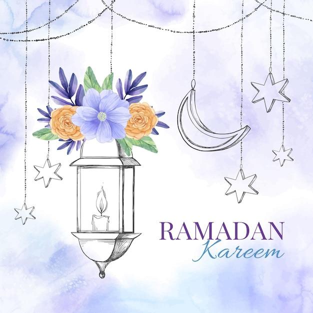Ilustración acuarela ramadan kareem Vector Premium