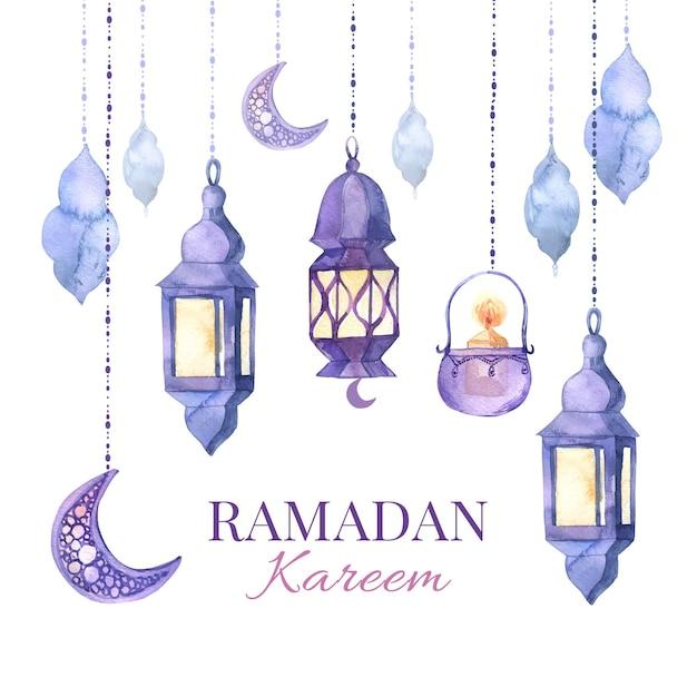 Ilustración acuarela ramadan kareem vector gratuito