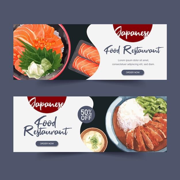 Ilustración acuarela con temática creativa de sushi para pancartas, publicidad y folleto. vector gratuito