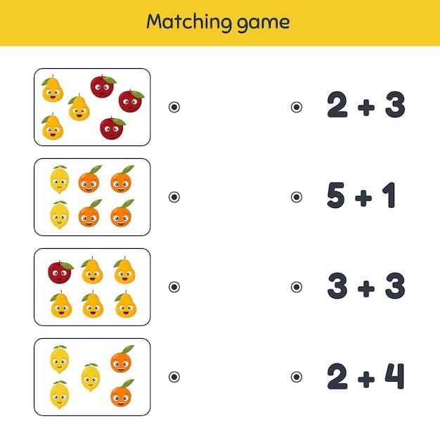 Ilustración. adición. juego de correspondencias. frutas hoja de trabajo para niños en edad preescolar, preescolar y escolar. Vector Premium