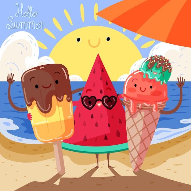 Ilustración adorable de verano hola vector gratuito