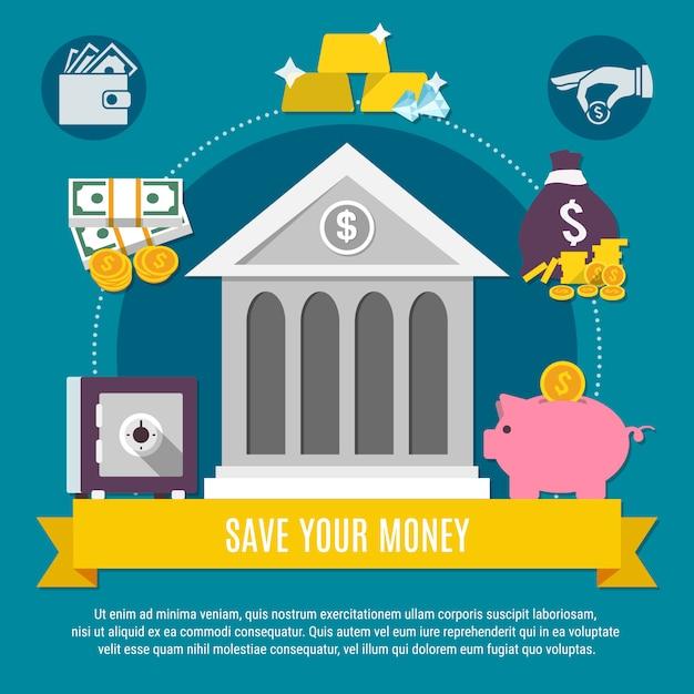 Ilustración de ahorro de dinero vector gratuito