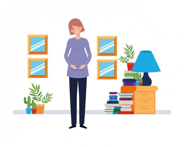 Ilustración aislada de la mujer embarazada Vector Premium
