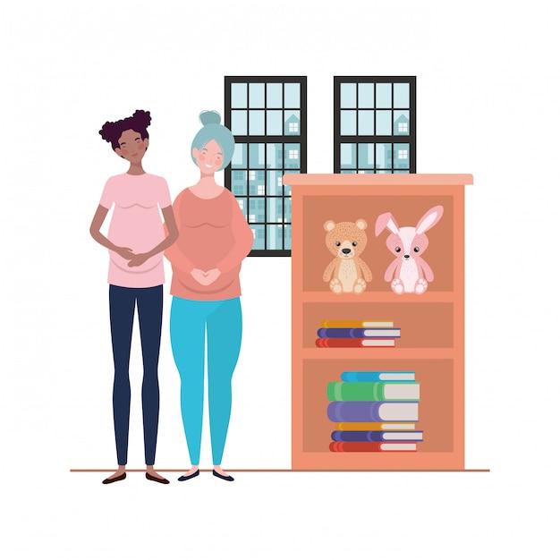 Ilustración aislada de las mujeres embarazadas Vector Premium