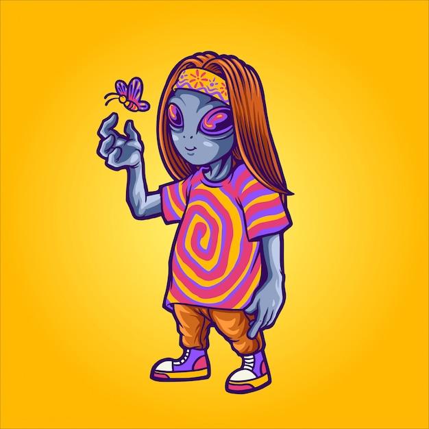 Ilustración alienígena feliz hippie Vector Premium
