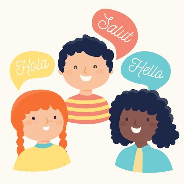 Ilustración de amigos diciendo hola en diferentes idiomas vector gratuito