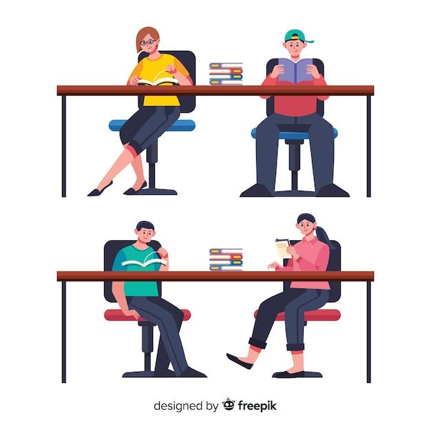 Ilustración de amigos leyendo juntos vector gratuito