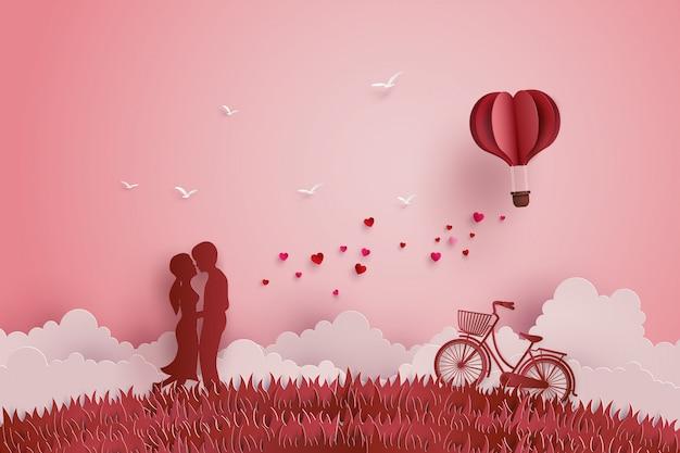 Ilustración del amor y el día de san valentín Vector Premium