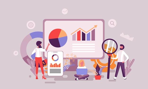 Ilustración de análisis de datos Vector Premium