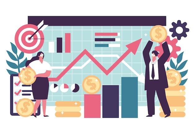 Ilustración de análisis del mercado de valores vector gratuito
