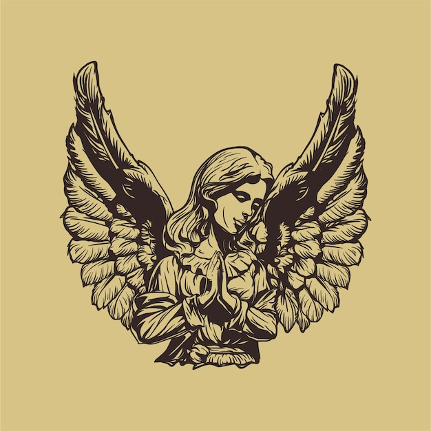 Ilustración de angel hand drawn Vector Premium