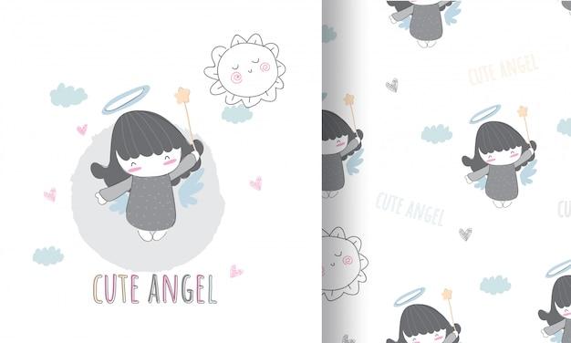 Ilustración de ángulo lindo para niños con patrones sin fisuras Vector Premium