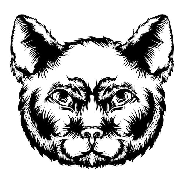 La ilustración de la animación del gato para las ideas del tatuaje. Vector Premium