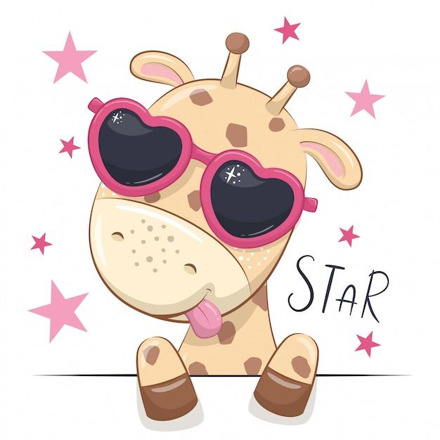 Ilustración animal con jirafa linda chica con gafas. Vector Premium