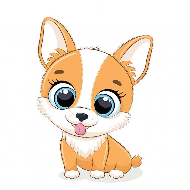 Ilustración animal con lindo perrito. Vector Premium