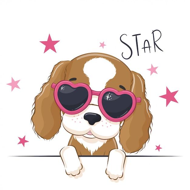 Ilustración animal con perro linda chica con gafas. Vector Premium