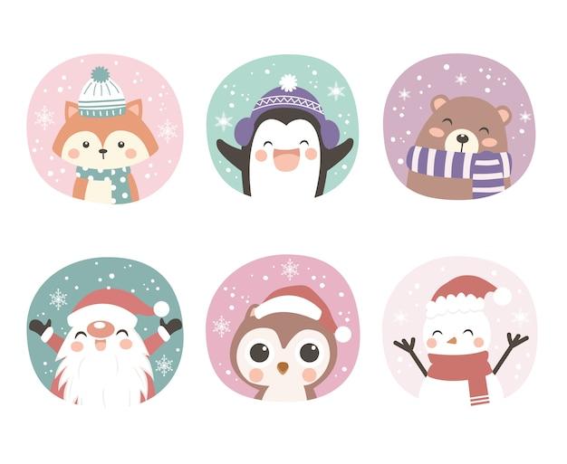 Ilustración de animales lindos para decoración navideña Vector Premium