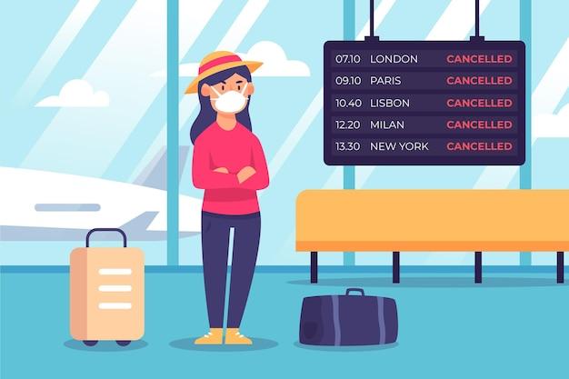 Ilustración del anuncio de vuelo cancelado en el aeropuerto vector gratuito