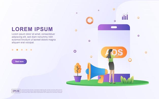 Ilustración de anuncios móviles y publicidad en línea con iconos de teléfonos inteligentes y megáfonos Vector Premium