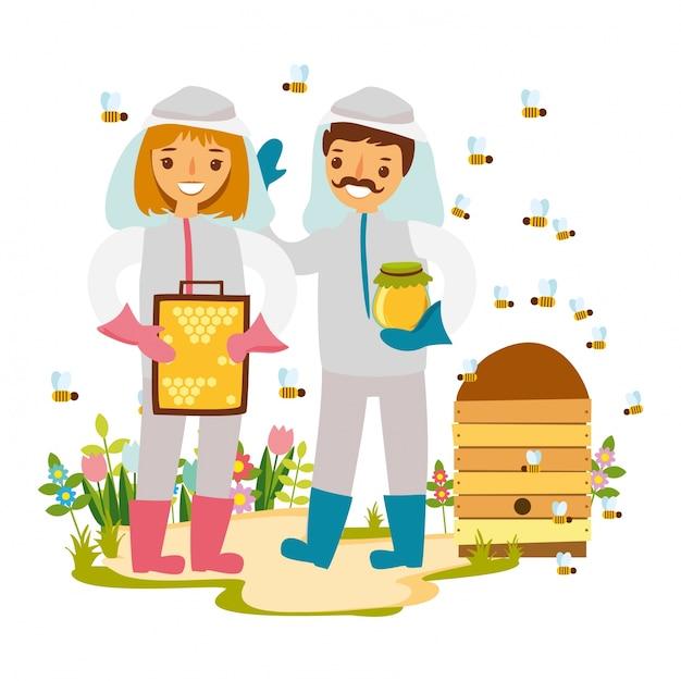 Ilustración de apicultores vector gratuito