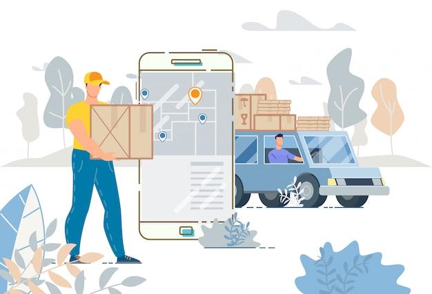 Ilustración de la aplicación del sistema de seguimiento del servicio de entrega de camiones de carga Vector Premium
