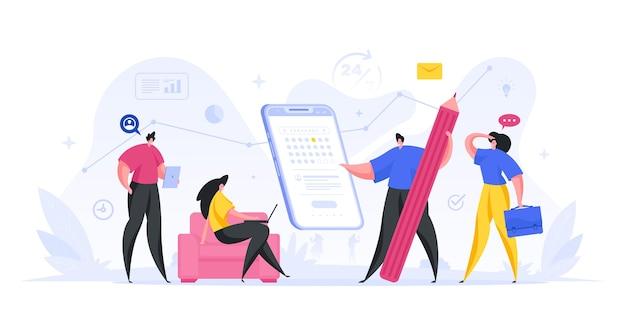 Ilustración de la aplicación web de fecha de vencimiento de recordatorio de calendario. preparación y prueba del servicio online con fecha límite. programación móvil activa con implementación de plataforma de servicio Vector Premium