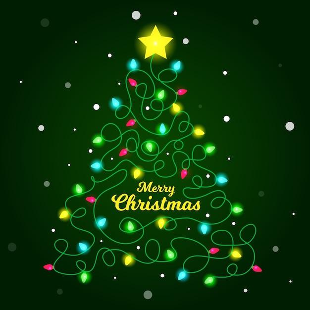 Ilustración del árbol de navidad hecho de bombillas vector gratuito