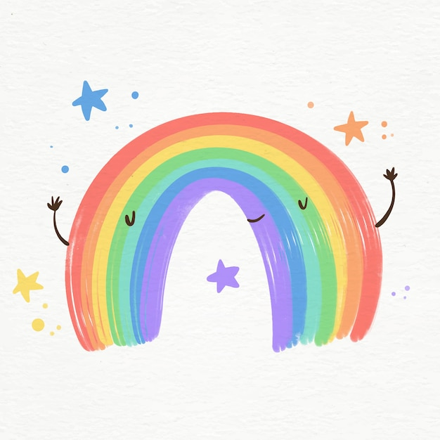 Ilustración del arco iris smiley acuarela vibrante vector gratuito