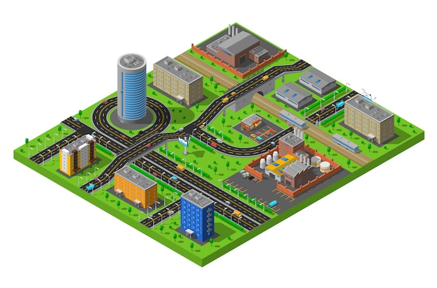 Ilustración del área industrial de la ciudad isométrica vector gratuito