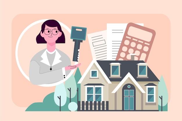 Ilustración de asistencia inmobiliaria con mujer y llave Vector Premium