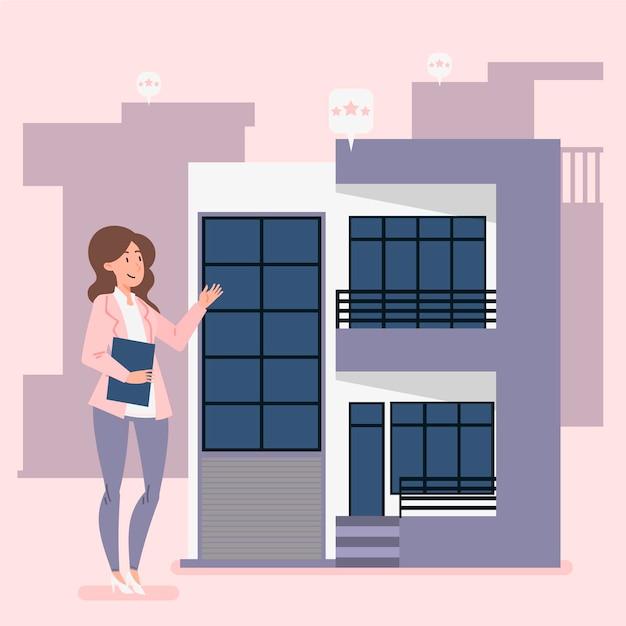 Ilustración de asistencia inmobiliaria con mujer vector gratuito