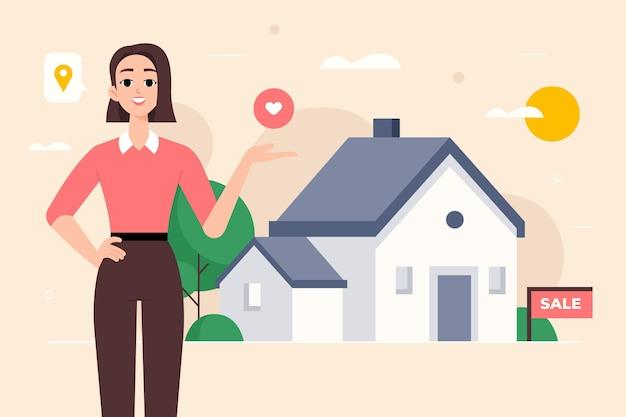 Ilustración de asistencia inmobiliaria vector gratuito
