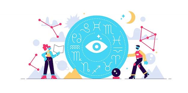 Ilustración de astrología constelación del zodiaco símbolos de conocimiento. concepto abstracto calendario antiguo con toda la colección de personajes. mitología adornos de cultura esotérica aprendiendo de la naturaleza. Vector Premium