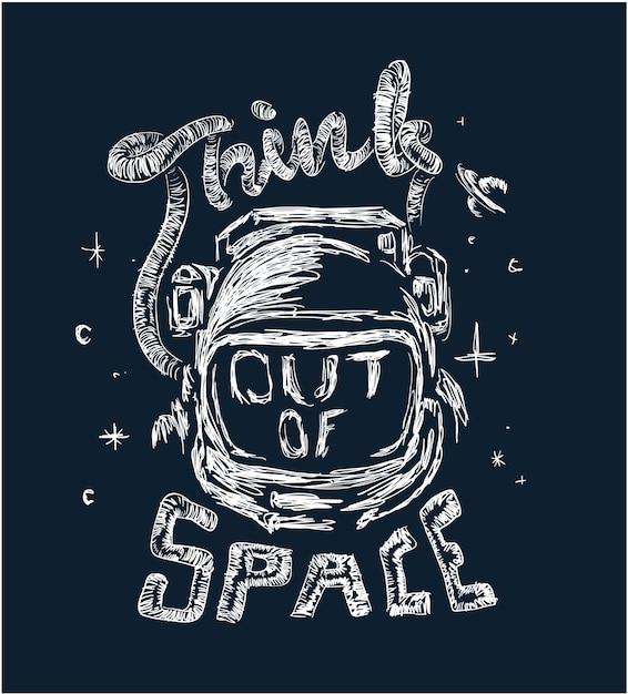 Ilustración de astronauta con lema Vector Premium