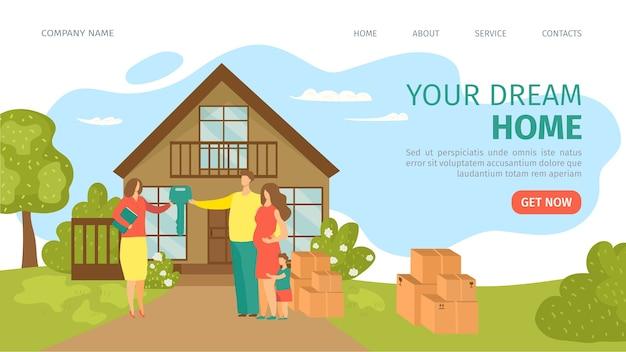 Ilustración de aterrizaje de sitio web de casa de ensueño Vector Premium