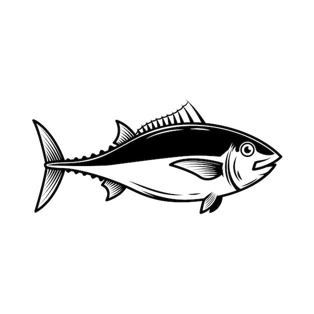 Ilustración de atún sobre fondo blanco. elemento de logotipo, etiqueta, emblema, signo, insignia. imagen Vector Premium