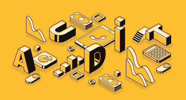 Ilustración de auditoría de negocios en diseño de letras y líneas finas negras isométricas. vector gratuito