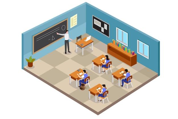 Ilustración de aula isométrica con estudiantes y profesor vector gratuito