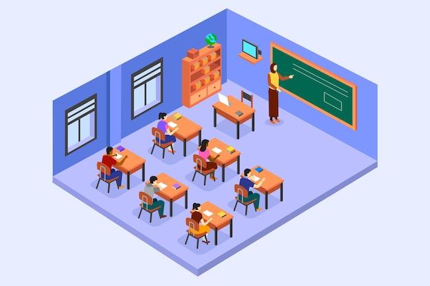 Ilustración de aula isométrica con profesor y alumnos vector gratuito