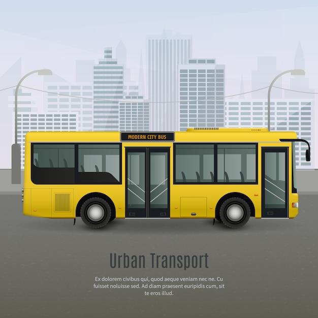 Ilustración de autobús de ciudad realista vector gratuito