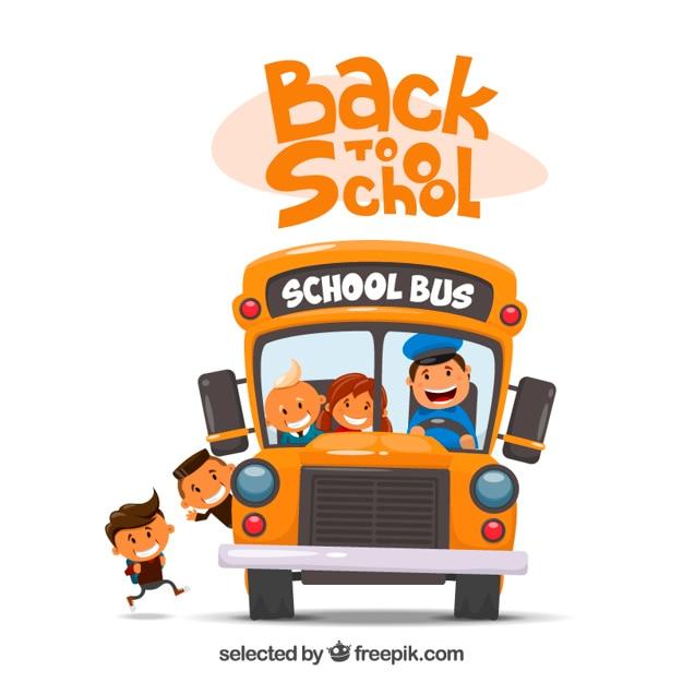 Ilustración del autobús escolar vector gratuito